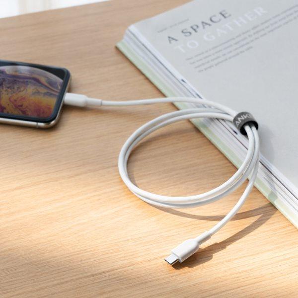 Anker PowerLine II Lightning till USB-C 90cm vit på bord