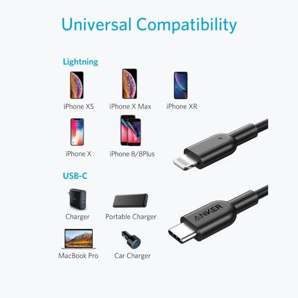 Anker PowerLine II Lightning till USB-C kabel, 90cm svart för iPhone och laddning med USB-C