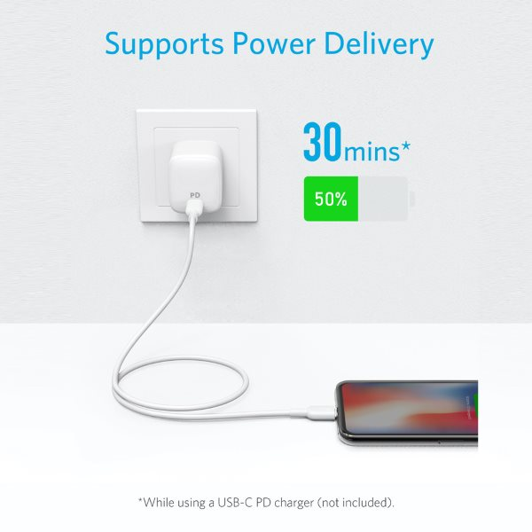 Anker PowerLine II Lightning till USB-C kabel, 90cm vit för power delivery