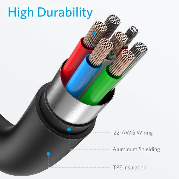 Anker PowerLine II Lightning till USB-C kabel, 90cm svart stark konstruktion