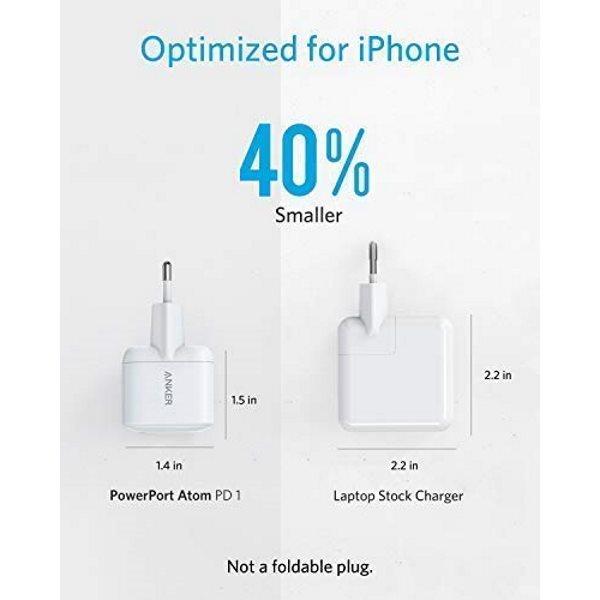 Anker PowerPort Atom PD1 mobilladdare för iPhone, vit