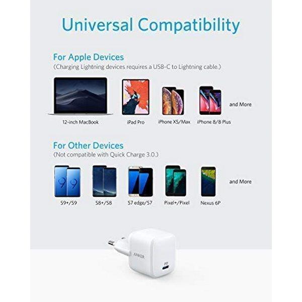 Anker PowerPort Atom PD1 mobilladdare laddar alla telefoner, vit