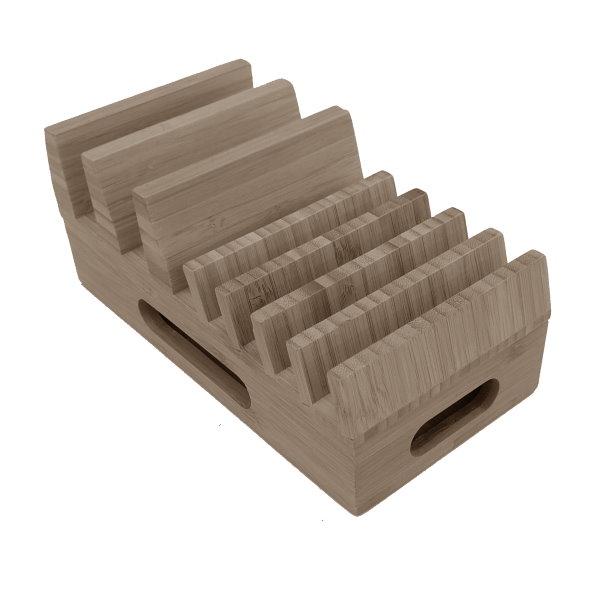 Bambuställ för laddare, kablar och mobiler