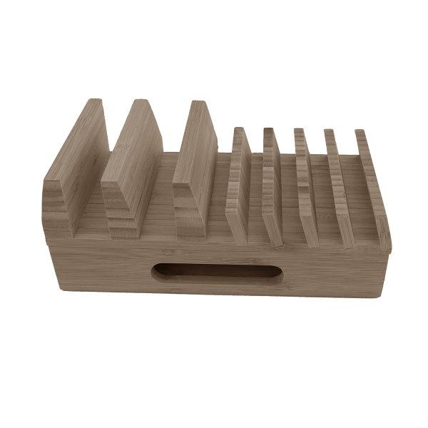Bambuställ för laddare, kablar och mobiler, från sidan