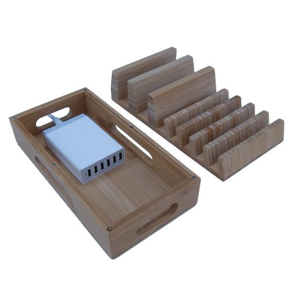 Bambuställ för laddare, kablar och mobiler, med laddare