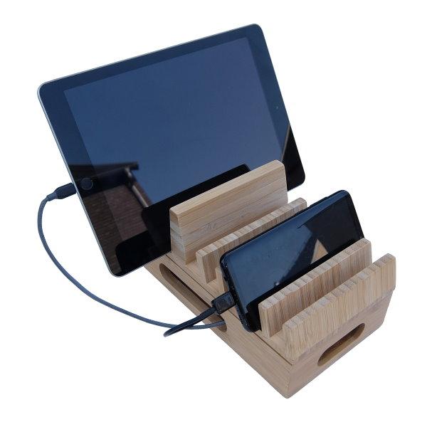 Bambuställ för laddare, kablar och mobiler, med telefon och iPad