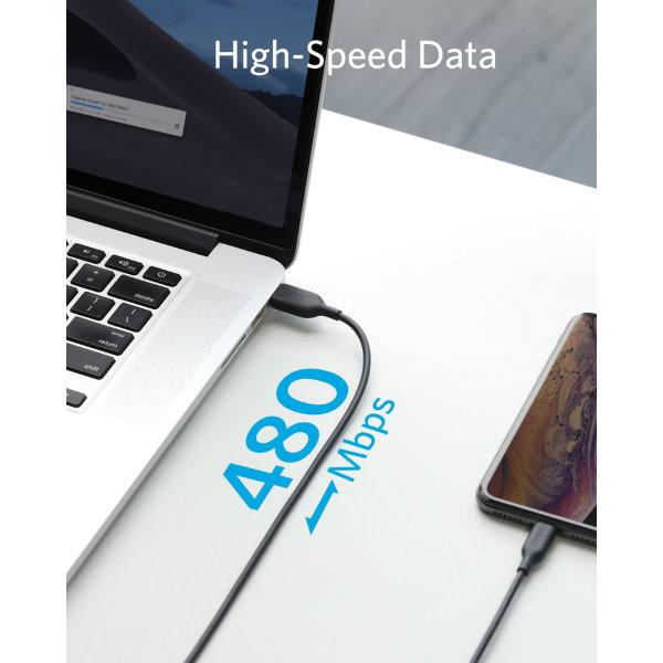 Anker PowerLine III Lightning 90cm snabb dataöverföring