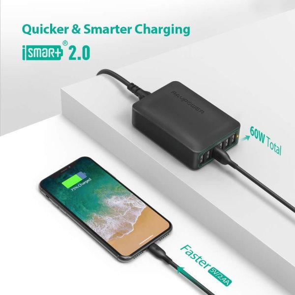 RAVPower mobilladdare med 6 uttag