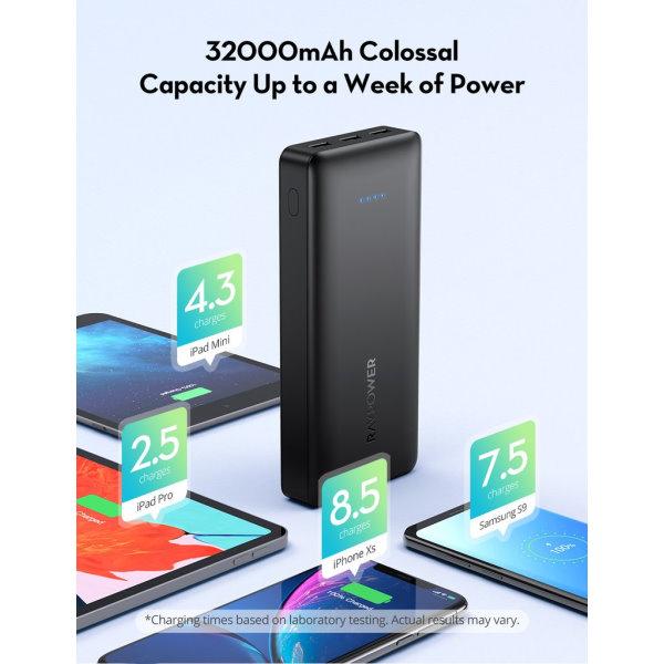 RAVPower 32000mah powerbank stor kapacitet