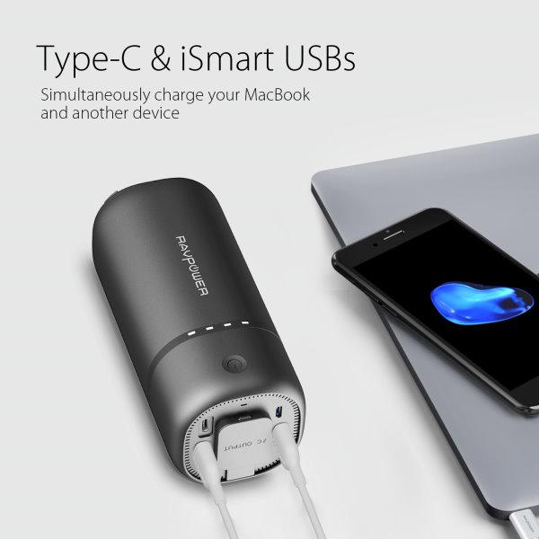 RAVPower 20100 Powerbank med eluttag och USB-c