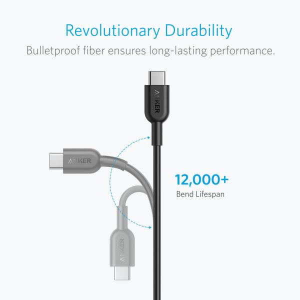 Anker PowerLine II USB C USB C 2.0 kabel, 180cm Mobilladdare och powerbanker för alla mobiler