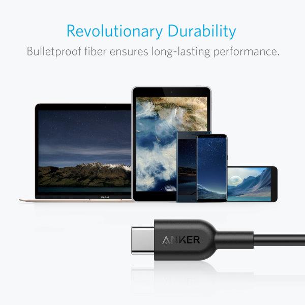 Anker PoweLine II USB-C - USB-C 180cm håller länge