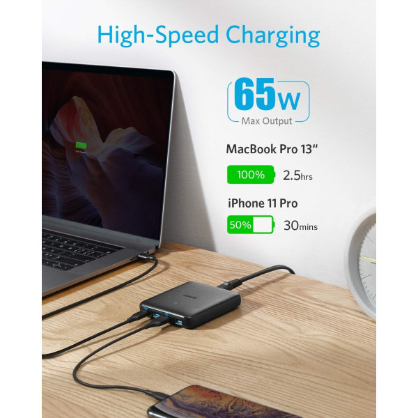 Anker PowerPort Atom III Slim 65W snabbladdare Mobilladdare och powerbanker för alla mobiler