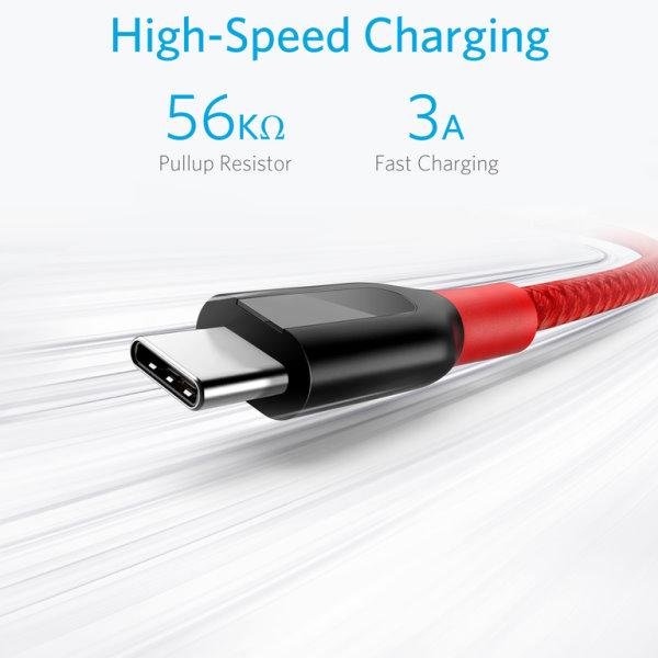 Anker PowerLine plus USB-C röd 300cm snabb laddning