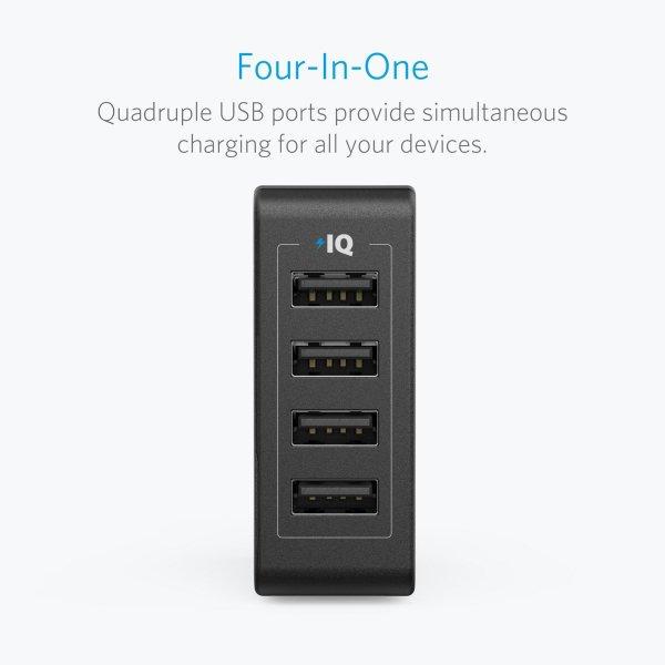 Anker Quad-Port mobilladare med 4 uttag praktiskt