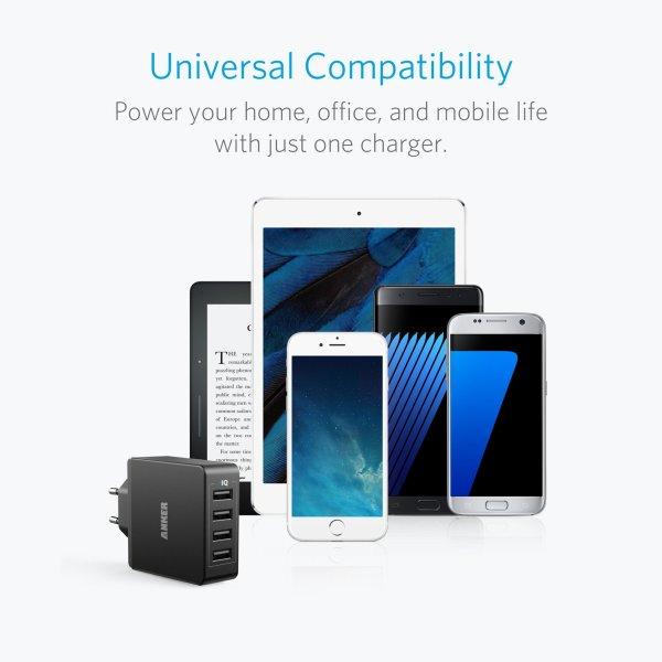 Anker Quad-Port mobilladare med 4 uttag laddar allt