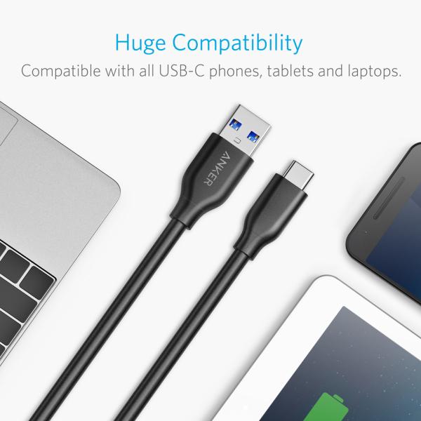 Anker PowerLine USB-C USB-A 300cm för alla USB-C telefoner
