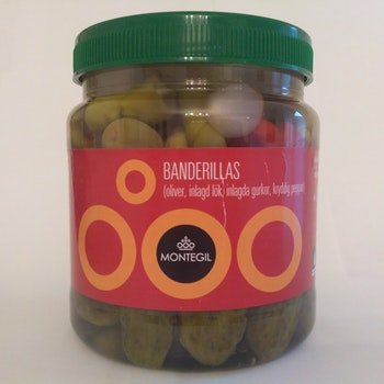 BANDERILLAS (oliver, inlagd lök, inlagda gurkor, kryddig peppar) 720g