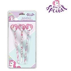 Unicorn 3-pack pennor med sudd