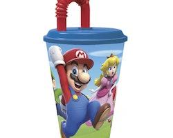Super Mario Plastmugg med lock & sugrör