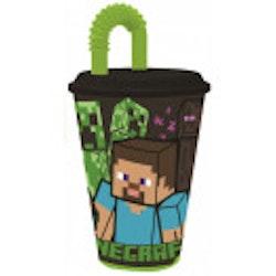 Minecraft vattenflaska med sugrör 430 ml