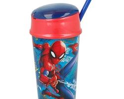 Spiderman Sportflaska med snacksfack