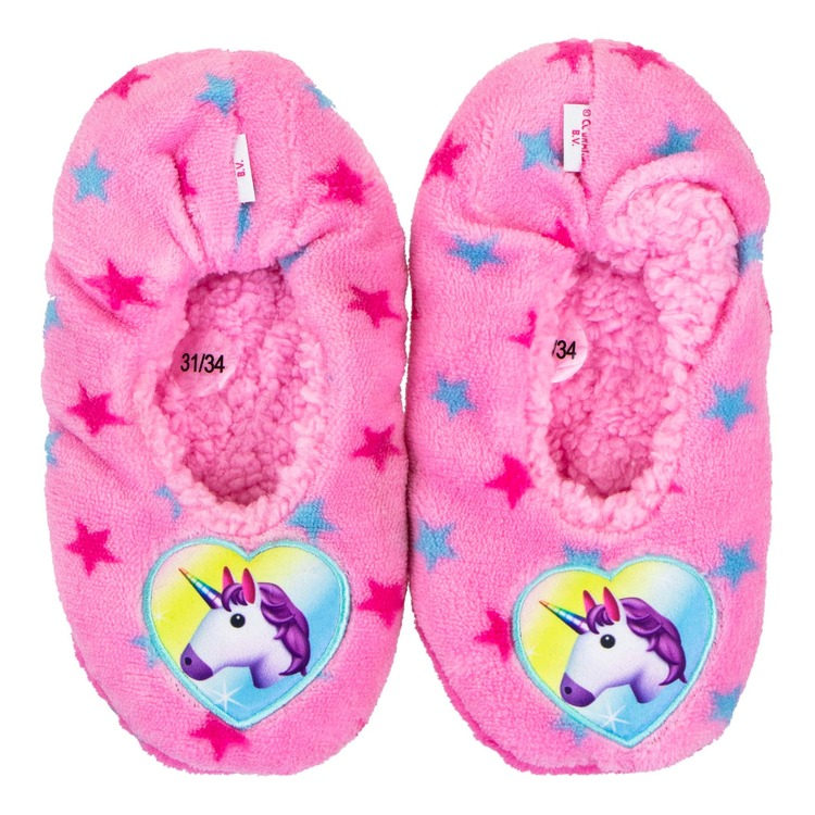 Emoji unicorn tofflor i teddy fleece