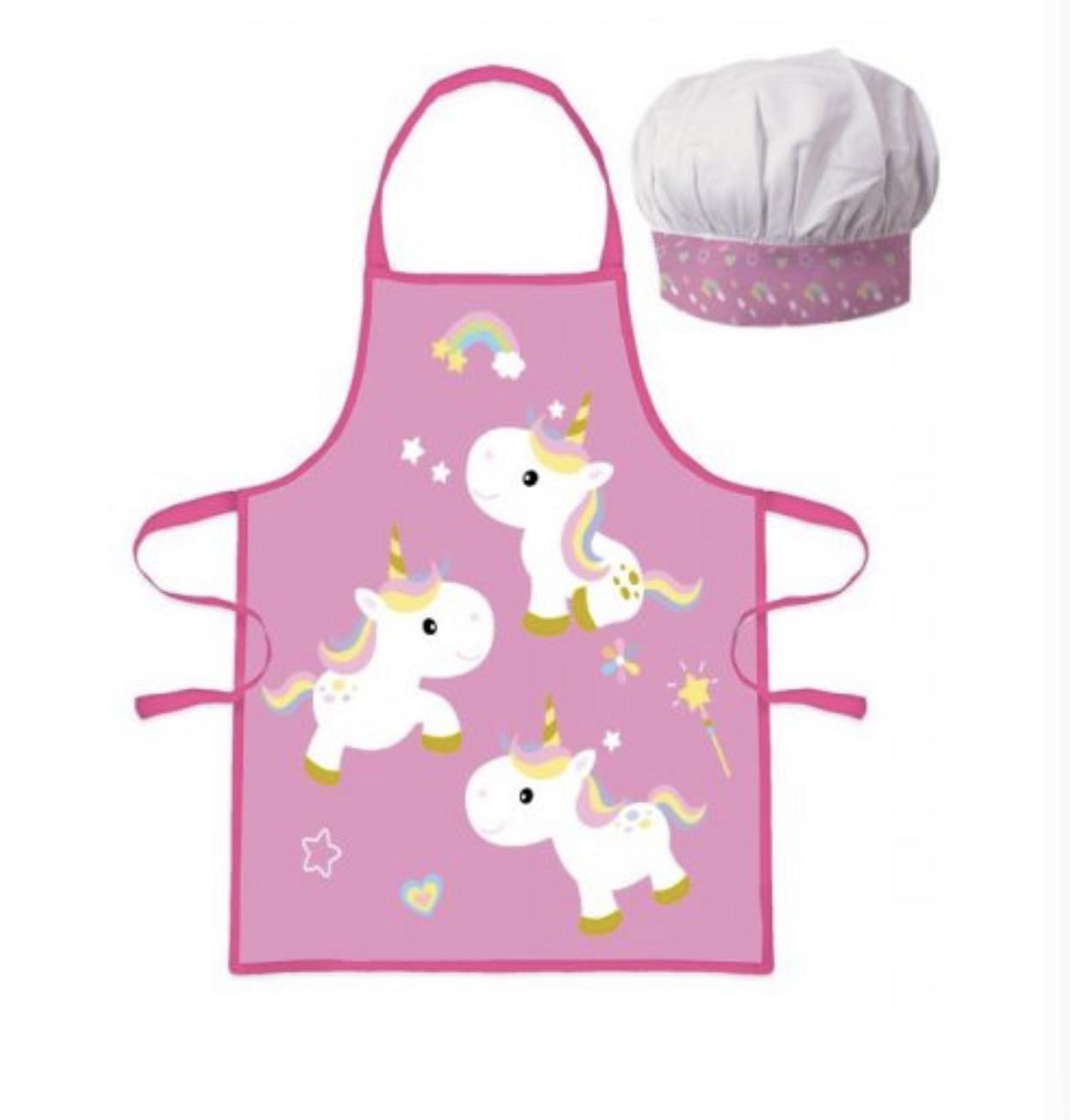 Unicorn förkläde med kockmössa