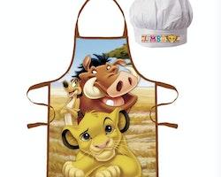 Lejonkungen förkläde med kockmössa