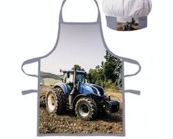 Traktor förkläde med kockmössa