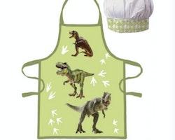 Dinosaurie förkläde med kockmössa