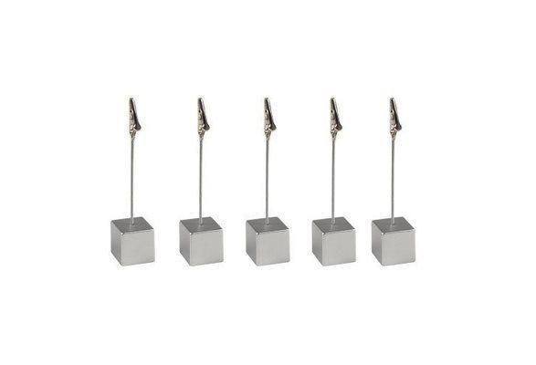 Bordsplaceringshållare 5 st - Klämma (Silver) Plastfickor 5 st vågrätt.