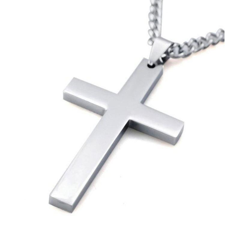 Kors i silver Rostfritt stål med halskedja.ca 5.0 cm * 3.0 cm Längd: ca 50.