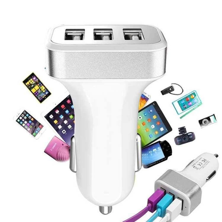 Billaddare med 3 USB-Port Silver,1A/2A/2.1A till iPhone iPad Samsung,Universal