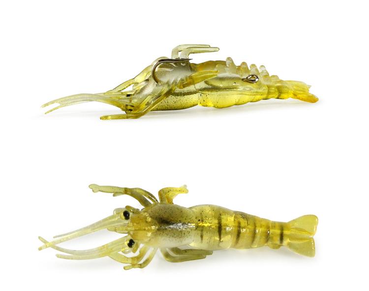 Räkor 5 pack. Perfekt för ditt fiske. Mjuk och lätt. Material: PVC  Färg: svag gul