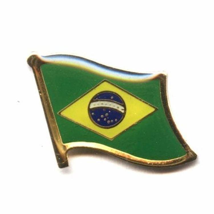 Brasilien flaggpin Material: Metall Storlek: 1,5 cm x 2 cm