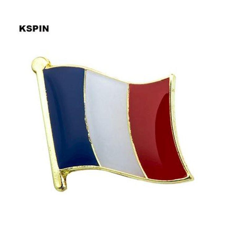 Frankrike flaggpin  Material: Metall Storlek: 1.6 cm x 1.9 cm