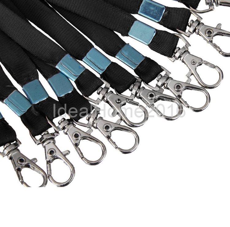 10 st Svarta nyckelband med karbinhake + 10 st Pvc vågrätt.Skolan, ID m.m
