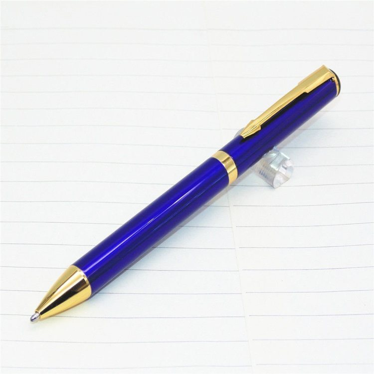 Kulspetspenna - Hög kvalité - Blå Guld färgad. Blått bläck, längd:133 mm