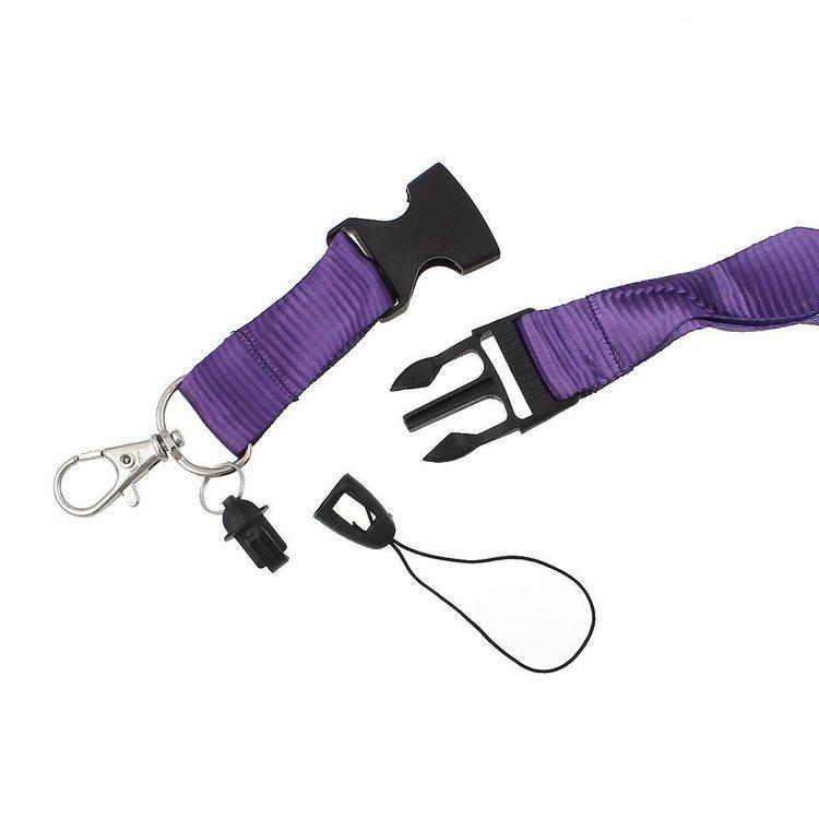 Lila nyckelband med karbinhake + Pvc Lodrätt. Passerkort, Id