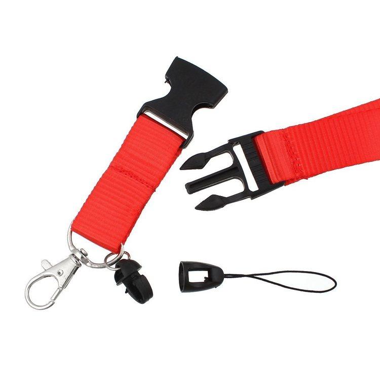 Rött nyckelband med karbinhake + Pvc Lodrätt.Passerkort, ID m.m