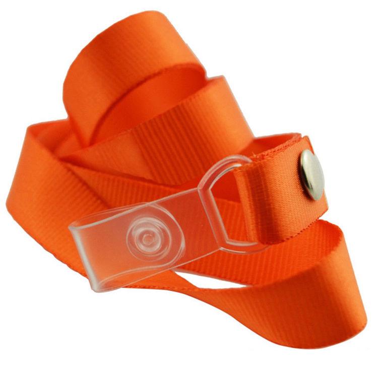 Orange Halsrem med Plastknäppe + Pvc Lodrätt.Passerkort, ID m.m