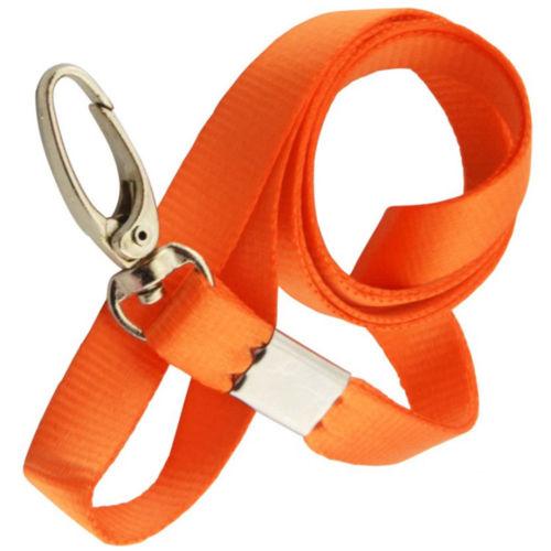 Orange nyckelband med tryckkrok + Plastficka vågrätt.Passerkort, ID m.m