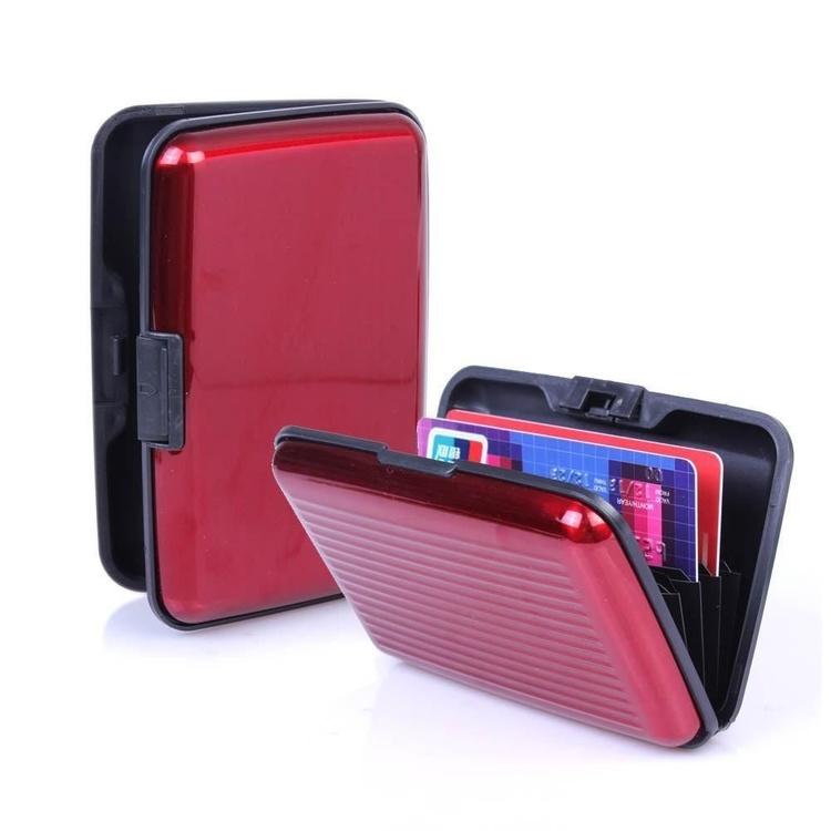 Röd korthållare kreditkorts hållare Aluminum Alloy, plats för 6 kort,11 x 7 x 2 cm