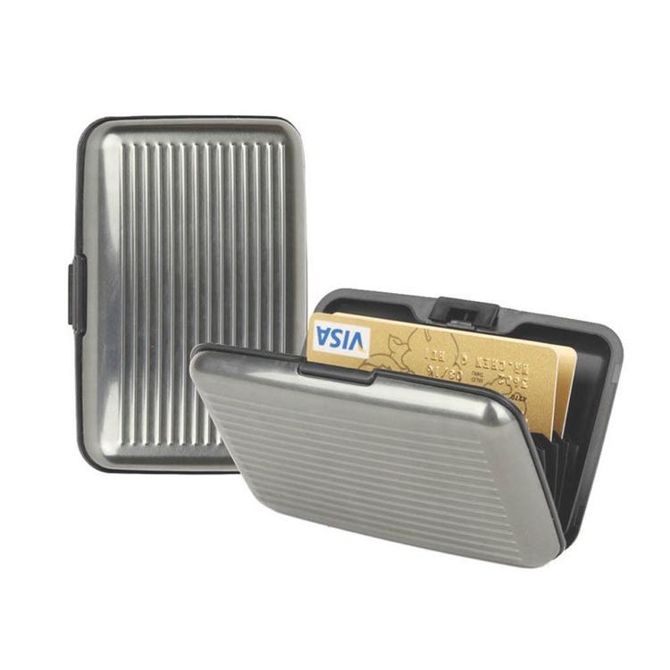 Silver korthållare,kreditkorts hållare-Aluminum Alloy,plast för 6 kort,11 x 7 x 2 cm