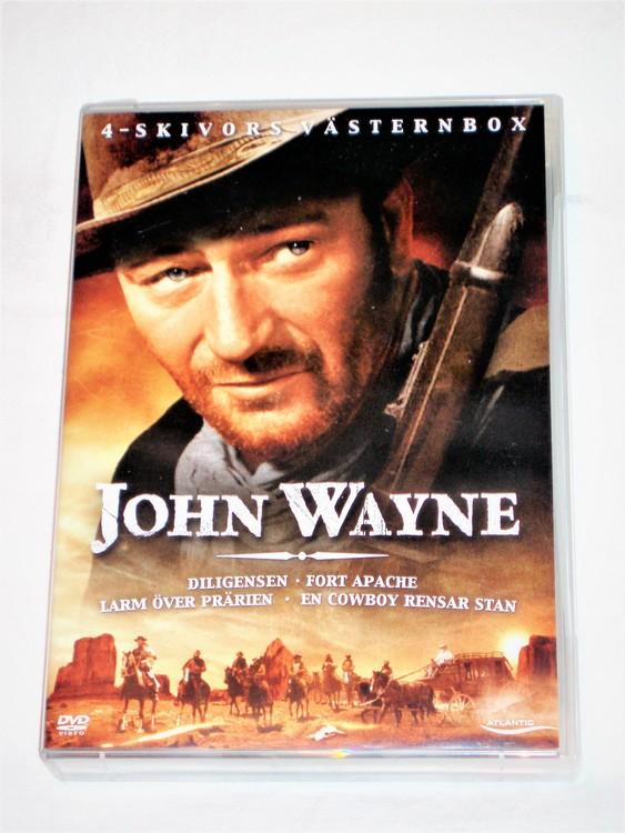 DVD John Wayne Box Western 4 filmer svensk text,normalt begagnat skick.