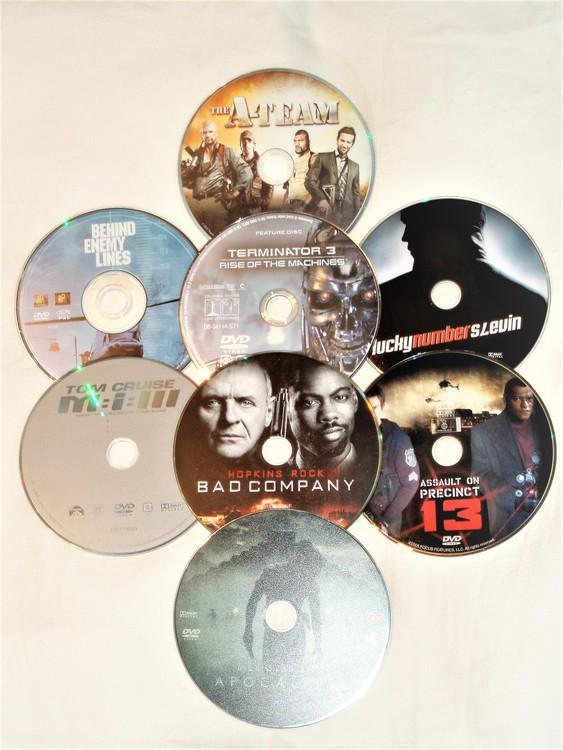 DVD Filmer 8st blandade endast skiva.Svensk text.normalt begagnat skick.