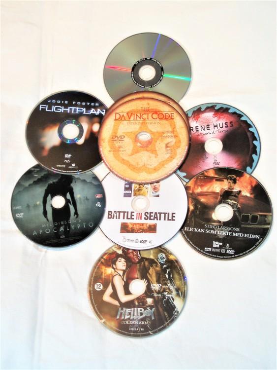 DVD Filmer 8st blandade endast skiva.Svensk text,normalt begagnat skick.