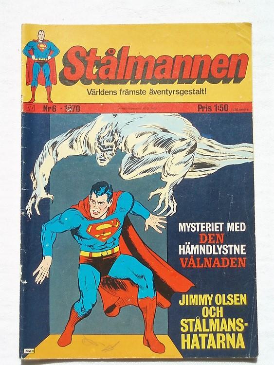Stålmannen nr6 1970,52 sidor,färg,bättre skick,siffror i bläck baksida