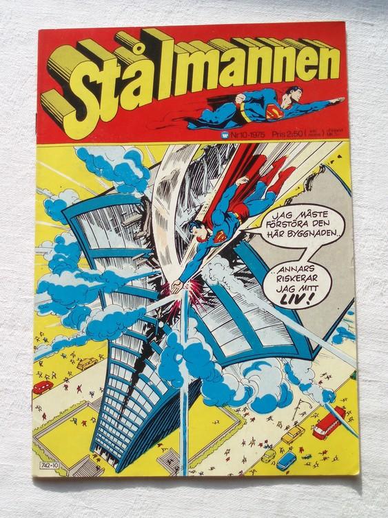 Stålmannen nr10 1975 NM Near mint,mycket bra skick,ny oläst,mikroskopiska skador